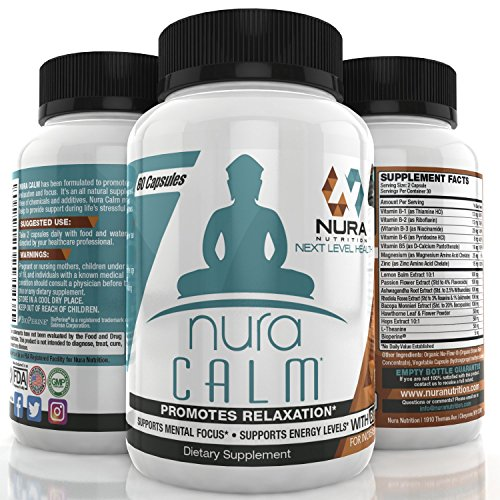 Nura Calm for Focus, Energy, Memory & Clarity, All Natural Nootropic Brain Booster Calming Supplement with Vitamin B12 Sharpens Mind & Elevates Mood – Herbal Blend & Vitamin B Complex