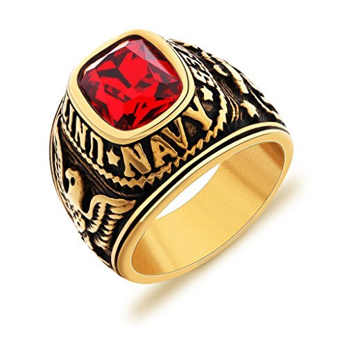 MASOP US Navy United State 316 Stainless Steel Men's Ring Red Ruby Color CZ Stone Size ()