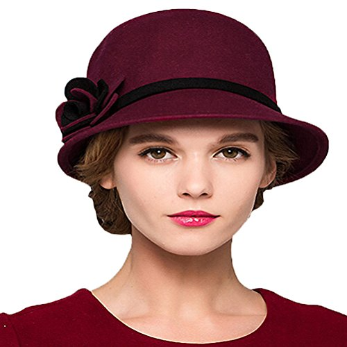 Maitose&Trade; Women's Bow Wool Felt Bucket Hat Wine Red ()