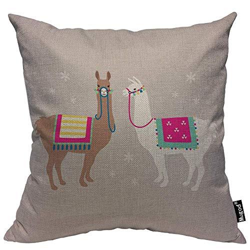 Mugod Llama Cover Pillow Drama Llama Alpaca Ethnic Saddle Reins Rope Grey Cotton Linen Square Cushion Cover Standard Pillowcase 18x18 Inch for Home Decorative Bedroom/Living Room/Car