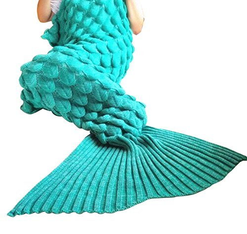 Mermaid Tail Blanket Handcraft for Adults & Kids, Warm and Soft Sofa Crochet Blanket Bag Knitting Pattern Cute Mermaid Gift in Living Room or Camping(75*35 inch, Blue)¡