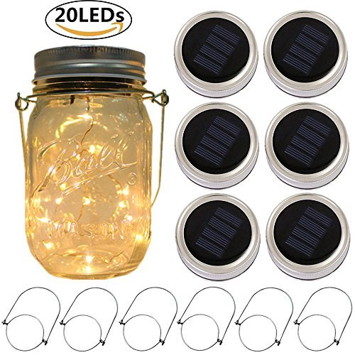 6-Pack Solar-powered Mason Jar Lights 20 LEDs (6 Hanger Included / No Jar),Warm White Glass Waterproof Fairy Hanging Lighting,Outdoor String Lids for Regular Mouth Jars for Patio Lamp -