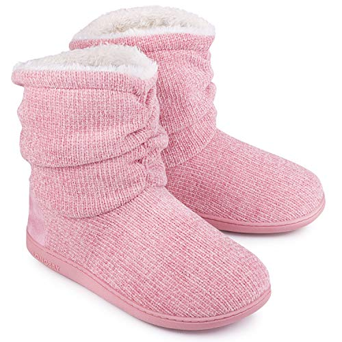 LongBay Women's Chenille Knit Bootie Slippers Cute Plush Fleece Memory Foam House Shoes