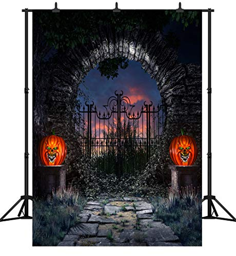 DePhoto 6X9FT(180X270CM) Halloween Party Theme Pumpkin Lantern Backdrop Customized Seamless Vinyl Photography Photo Background Studio Prop PGT259B -