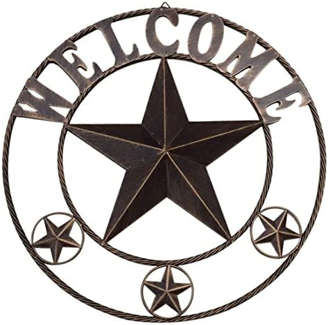 Ai.Moichien 26 Retro Metal Circled Texas Barn Star Wall Decor with Sayings Welcome