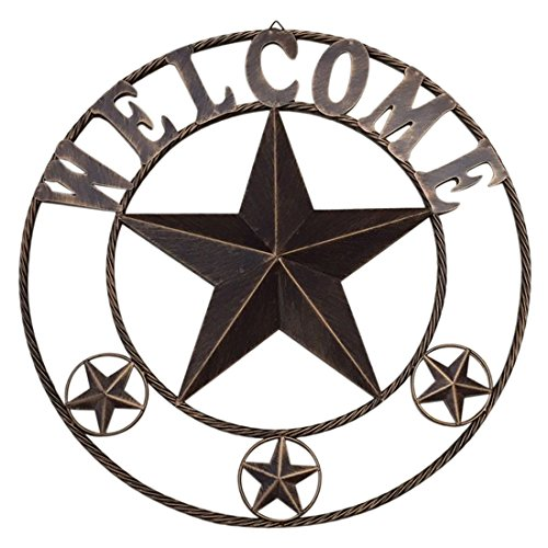 26″ Retro Metal Circled Texas Barn Star Wall Decor with Sayings Welcome