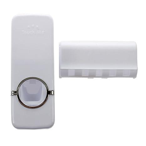 SODIAL(R) Blanco Dispensador automatico de pasta de dientes Juego de soporte de cepillo