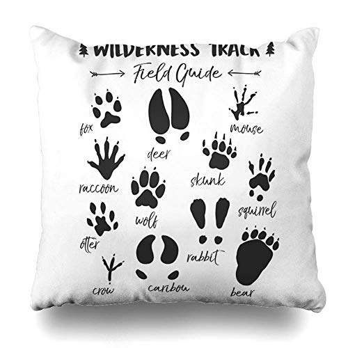 Mesllings Throw Pillow Cover Pillowcase Kids Animal Track Nursery Woodland Room Decorative Pillow Case Home Decor 20x20 Square Size Cushion Case