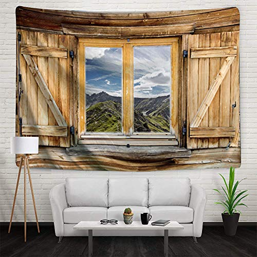 (Super Huge Wall Tapestry Mountain Snowy Scene KOLOKUTTA Barn Wood Window Farm Horse Large Decoration Beach Throw Sofa Cover for Kids Room (Wooden Shuttered Window, 90 X 60 Inches))