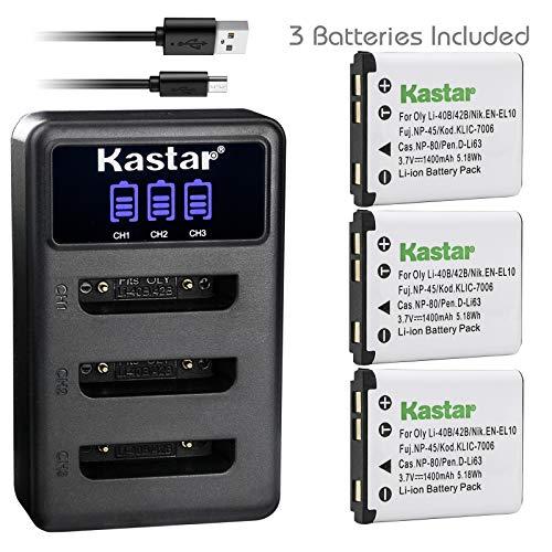 Kastar Battery 3-Pack and LCD Dual Charger for Olympus LI-42B LI-40B, Fujifilm NP-45 NP-45A NP-45B NP-45S, Nikon EN-EL10, Kodak KLIC-7006 K7006, Casio NP-80 CNP80, Pentax D-Li63 D-Li108, Ricoh DS-6365 (Olympus Li 42b Li Ion Rechargeable Battery)