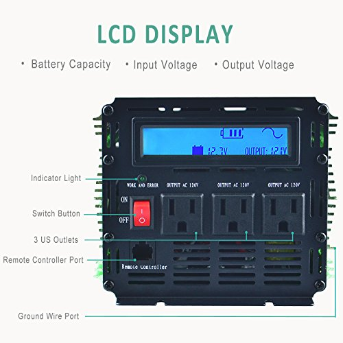 Edecoa 2000W Power Inverter DC 12V to 110V AC with LCD Display and Remote by EDECOA (Image #2)