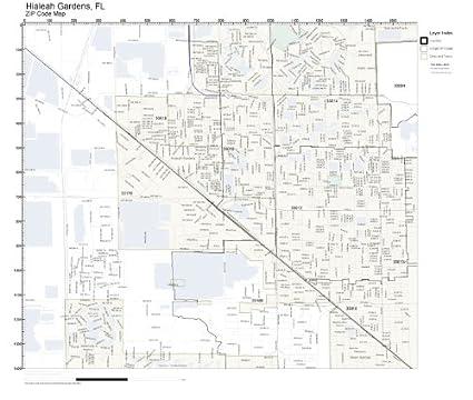 Hialeah Florida Map.Amazon Com Zip Code Wall Map Of Hialeah Gardens Fl Zip Code Map