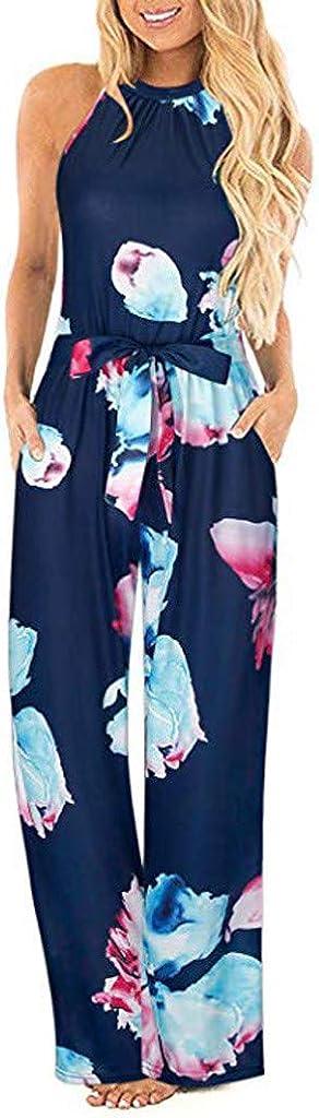 SUNNSEAN Monos Monos de Vestir Mujer Verano Fiesta Elegante Tirantes Mono Largo Impresión Floral Mameluco de Playa Jumpsuit Pantalones Anchos Coctel Playa Boho Monos de Petos
