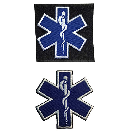 SpaceCar Bundle 2pcs Hook Loop And Iron On Star of Life EMS EMT Medic Cross Military Tactical Morale Badge Emblem Decorative Patch 2.75