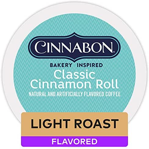 Cinnabon Classic Cinnamon Roll, Single Serve Coffee K-Cup Pod, Flavored Coffee, 12 Count, Pack of 6