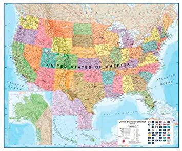 Amazoncom Extra Large USA Wall Map Political Laminated And - Large us maps laminated