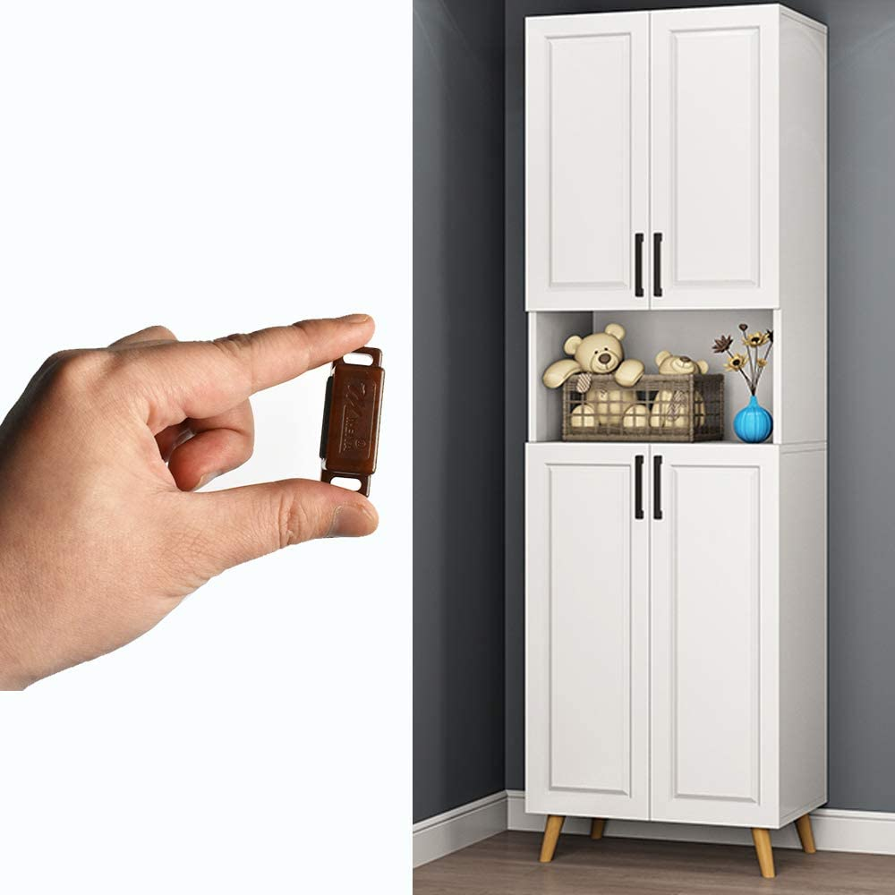 15lb High Magnetic Plastic Heavy Duty Latch for Kitchen Bathroom Cupboard Wardrobe Closet Closures Cabinet Door Drawer Magnets Screws Included 12Pack Magnetic Door Catch Brown