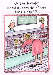 Woman At Bakery Counter Funny Birthday Card For Her Women