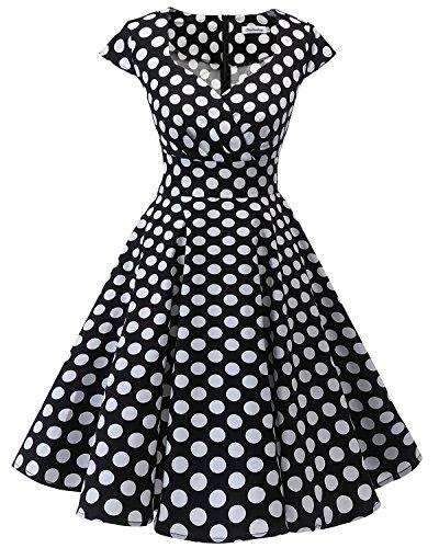 Bbonlinedress Women Short 1950s Retro Vintage Cocktail Party Swing Dresses Black White BDot L -