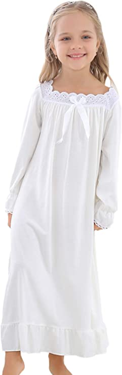 Victorian Kids Costumes & Shoes- Girls, Boys, Baby, Toddler Horcute Girls Cotton Long-Sleeve and Sleeveless Sleepshirts Nightshirts Pajamas Nightgown for 3-12 Years $17.99 AT vintagedancer.com