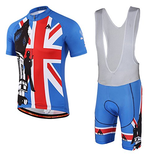vyesメンズサイクリングSuits Short Sleeve BIKER Jersey and Bib Shorts Reflective Large England Style B07CPB3F7P