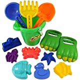 Dinosaur Sand Claws Beach Toy Set for Kids with Bucket, Shovels, Rakes & 7 Shape Molds