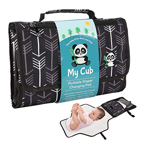 Simple Goods My Cub Baby Changing Pad, Portable Diaper Changing Pad for Travel, Built in Memory Foam Pillow, Waterproof Infant Changing Station