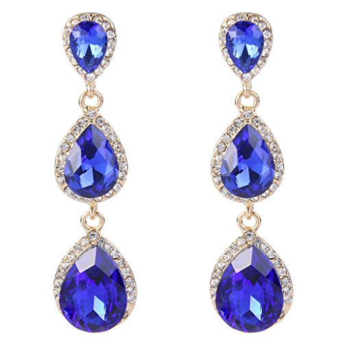 (EleQueen Women's Gold-tone Austrian Crystal Teardrop Pear Shape 2.5 Inch Long Earrings Sapphire Color)