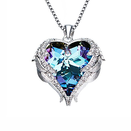 Purple Crystal Freedom Wings Necklace - Sedmart Guardian Angel Wings Charm Pendant Necklace February Birthstone Heart Necklace Jewelry with Swarovski Elements Crystal for (Mothers Birthstone Heart Charm Pendant)