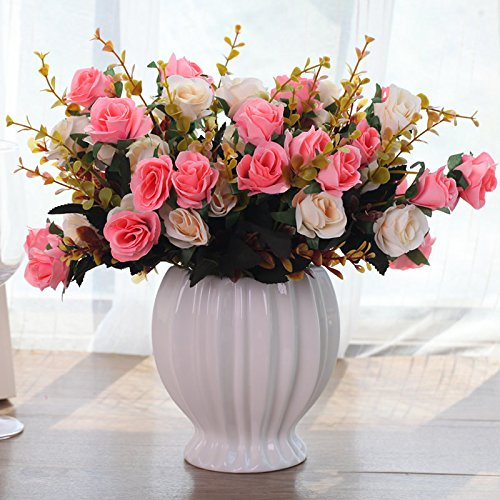XHOPOS HOME Artificial Flowers European Style Rose Potted Plants Pink Wedding Decorations Bridal Accessories Fake Flowers living (Potted Rose Topiary)