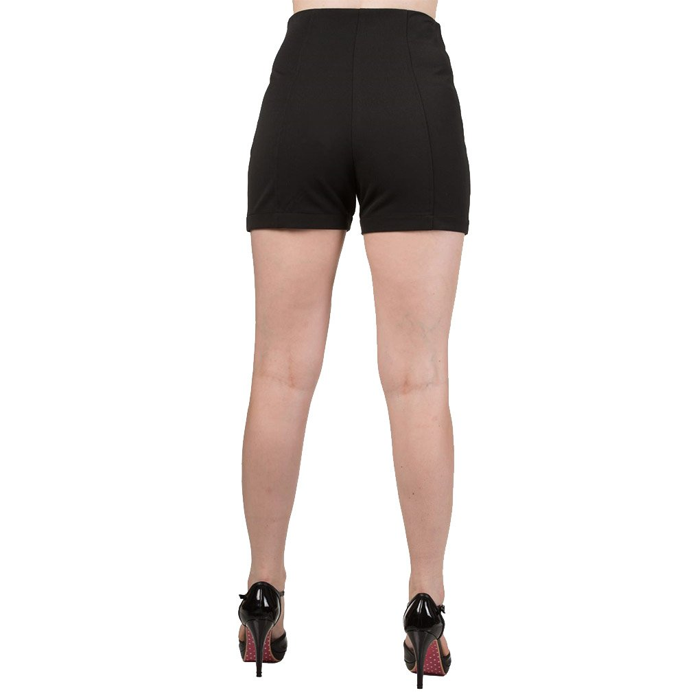 Stay Awhile Kurze Hose Schwarz Banned Dancing Days by Damen Rockabilly Pin Up Shorts Hohe Taille