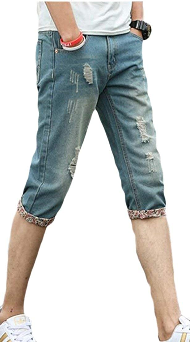 Alion Men Casual Denim Shorts Classic Fit Ripped Jeans Biker Shorts