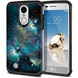 FINCIBO LG Aristo MS210 Case, Dual Layer Hard Back Hybrid Protector Cover Anti Shock TPU Skin For LG Aristo MS210 LV3 K8 2017 Phoenix 3 M150 Fortune - Blue Sky Galaxy Nebula
