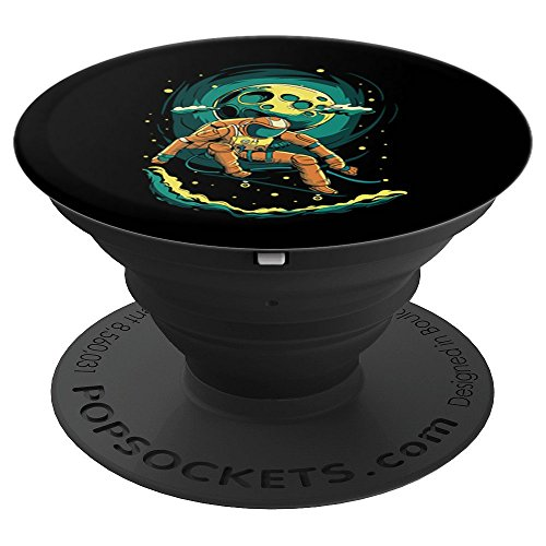 Skateboard Astronaut Skater Half Pipe In Space Art Men's - PopSockets Grip and Stand for Phones and Tablets ()