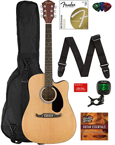 Electric Acoustic Guitar (Fender FA-125CE Dreadnought Cutaway Acoustic-Electric Guitar Bundle with Gig Bag, Strap, Strings, Tuner, Picks, Fender Play Online Lessons, and Austin Bazaar Instructional DVD)