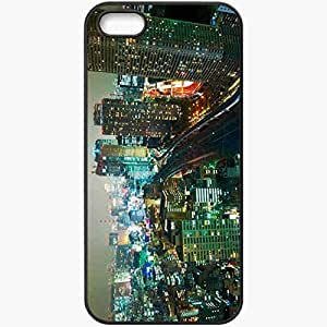 Protective Case Back Cover For iPhone 5 5S Case Japan Building Night Lights Black