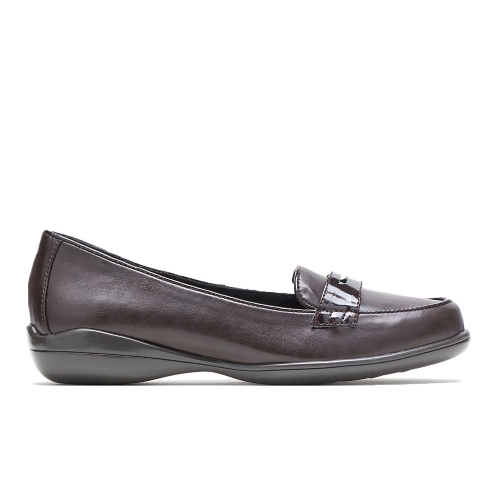 Soft Style by Hush Puppies Women's Daly Penny Loafer, Dark Brown Vitello/Patent, 9.5 W US