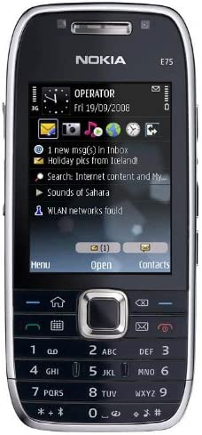 B001TUZ6G8 Nokia E75 Unlocked Phone with 3.2 MP Camera, 3G, Wi-Fi, GPS, Media Player, and 4 GB MicroSD Card(Silver Black) 51GMT1VyDdL.