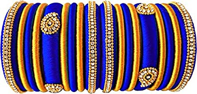 Party Wear Silk Thread Royal Blue Gold Color Combination Silk