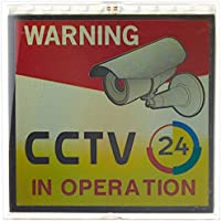 GW Security 3.15 x 3.15 Inche Plastic Flash Security DVR CCTV Warning Sign Solar Powered Signboard