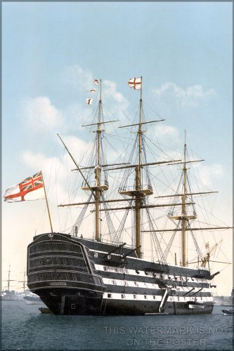 """HMS Victory c1900, colorized b&w - 24""""x36"""" Poster"""