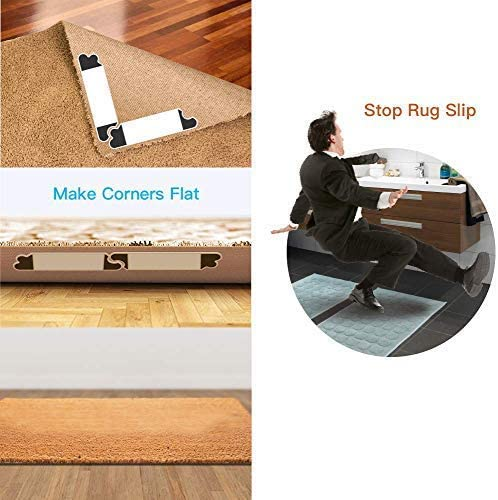 Ideal Anti Slip Rug Pad for Your Rugs Keeps Your Rug in Place /& Makes Corners Flat 4 pcs Anti Curling Rug Gripper Rug Grip No Curl Premium Carpet Gripper with Renewable Gripper Tape