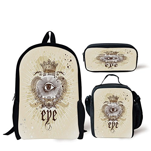 (School Lunch Pen Bags,Eye,Artistic Vintage Emblem Eye Victorian Laurel Branches Crown Calligraphy Decorative,Light Yellow Brown White,3 Piece)