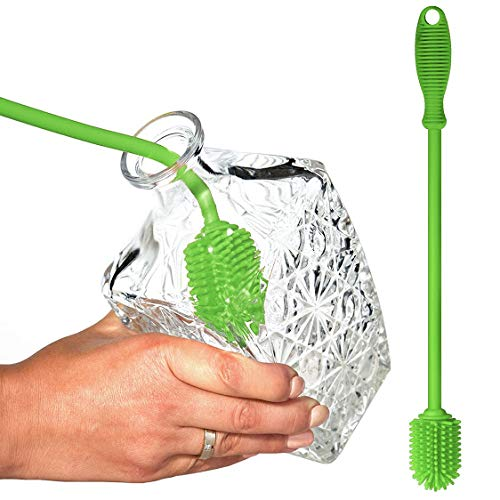 Belgoff Bottle Brush - Bottle Scrubbing Silicone Kitchen Cleaner For Washing Glass - Baby Bottles - Plastic Narrow Neck Water Sport Bottles Tumblers Thermoses Dishes with Long - Non-Grip Handle