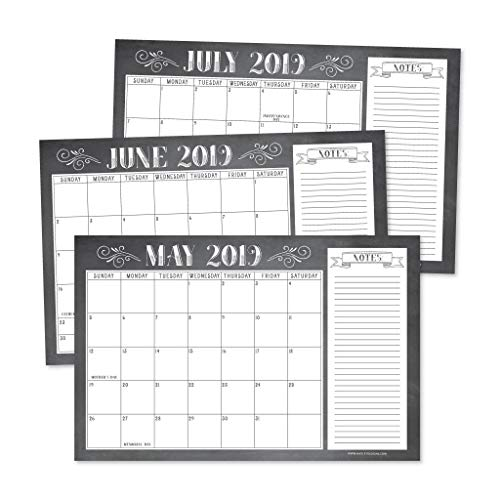 Desktop Wall - Chalkboard Rustic 2019-2020 Large Monthly Desk or Wall Calendar Planner Big Giant Planning Blotter Pad, 18 Month Academic Desktop, Hanging 2-Year Date Notepad Teacher, Family or Business Office 11x17