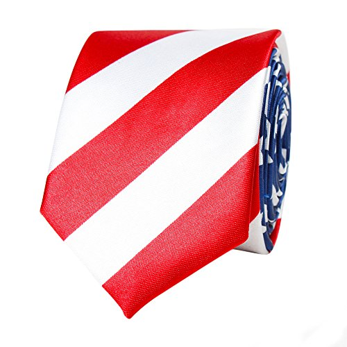 Amzcoice Classic American Flag Necktie USA Flag US Patriotic Neck Tie Independence Day Ties