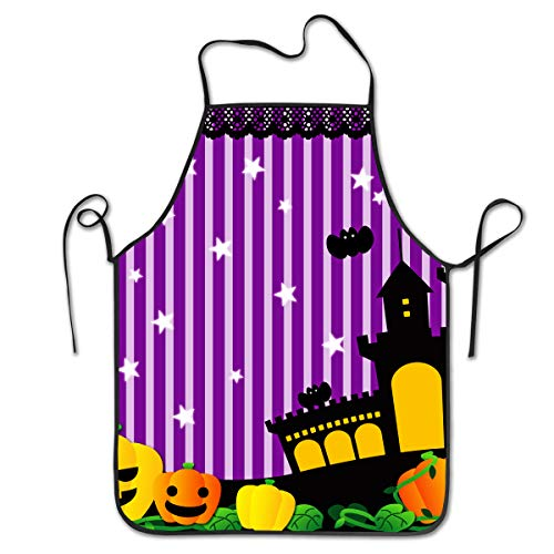 Cute Halloween Theater South Lights Bat Castle Utility Activity Work Best Prime Supply Customize Smocks Adjustable No-tie Waist Full Cooking Apron for Kids Teacher