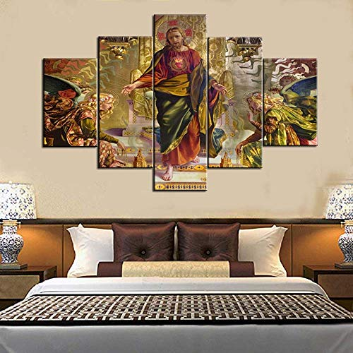 (Extra Large Artwork for Wall 5 Panel Canvas Jesus Painting Siena Church of st. Francis Pictures for Living Room HD Prints Modern Framed Posters and Prints Gallery-Wrapped Ready to Hang(60''Wx40''H))