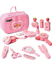 Seemo Wooden Makeup Toys Set Kids Makeup Kit for Girl Pretend Play Makeup Set Wooden Toys Christmas Birthday Gifts for 3~8 Years Old Toddlers Kids Girls