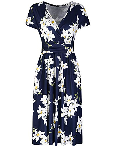 OUGES Women's Summer Short Sleeve V-Neck Floral Short Party Dress with Pockets 2